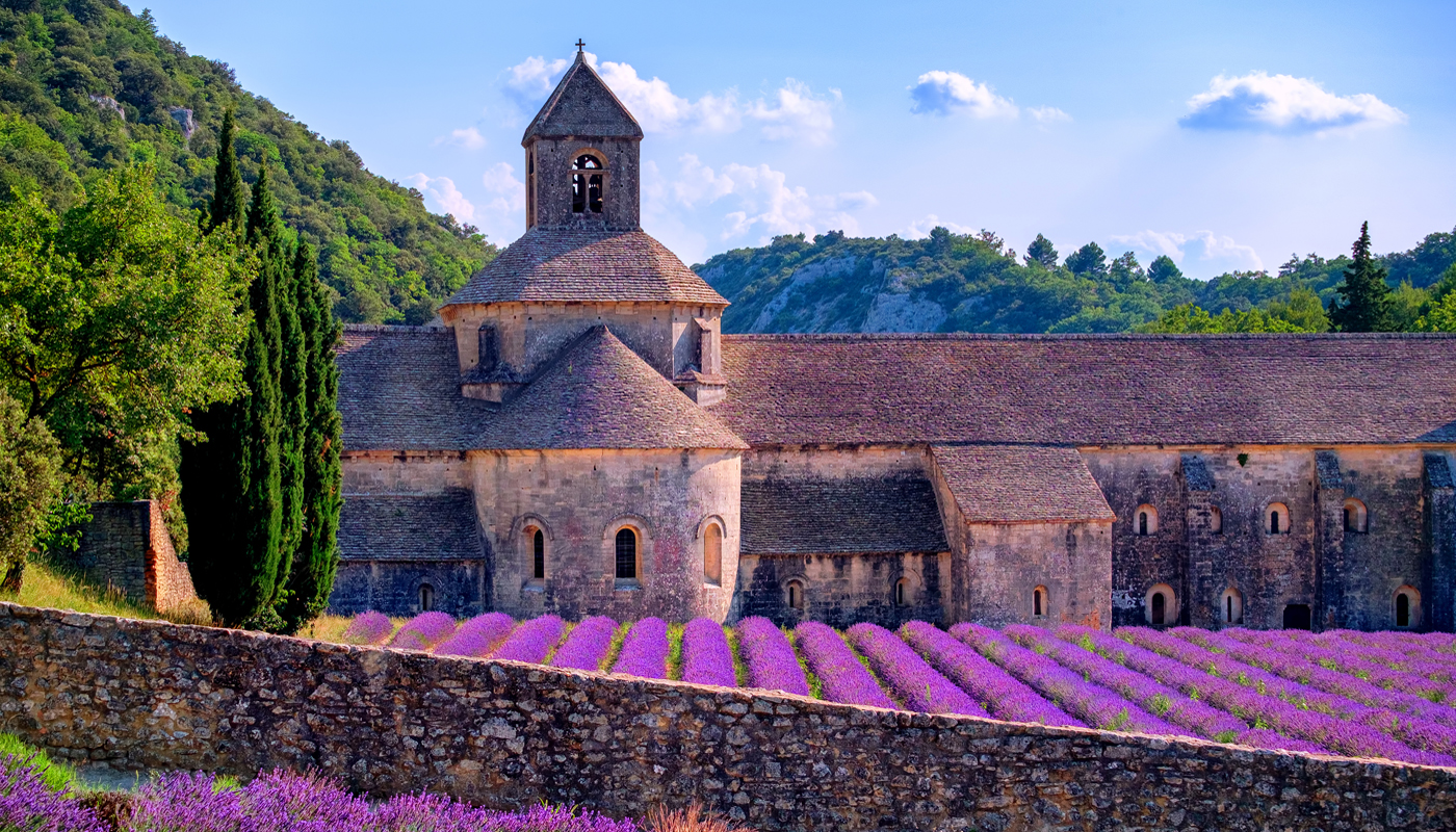 Senanque Monastery in Luberon surrounded with nice flowers.